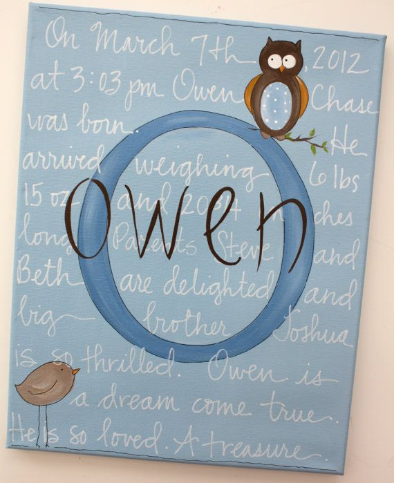 Custom personalized boys baby birth canvas by staceyfoster on Etsy, $45.00