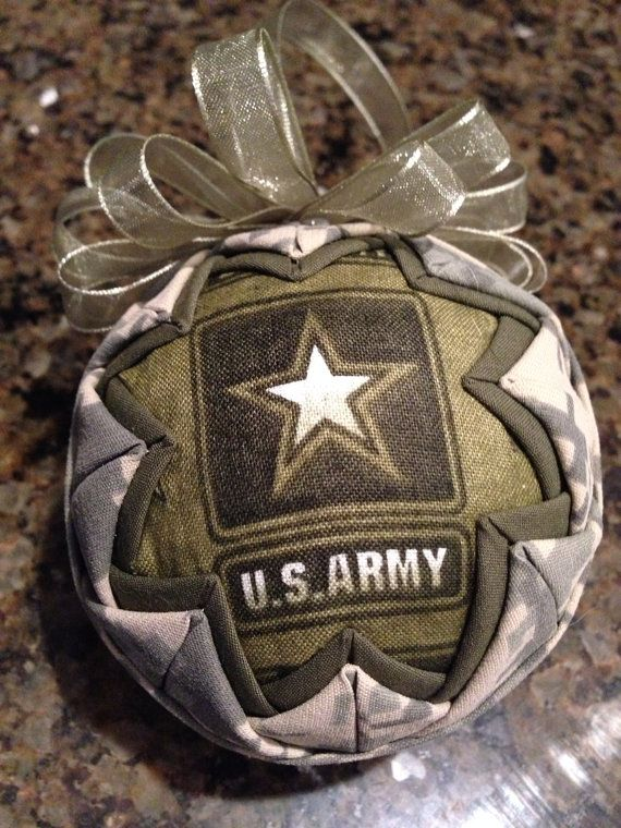 Army Fabric Quilted Ornament ball by WreathsByKari on Etsy, $11.99