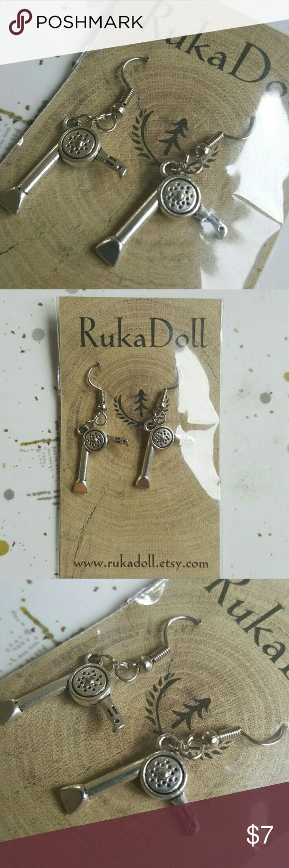 Hair Dryer Earrings Bitty miniature hair dryer charms. Great gift for your stylist!Surgical steel earwires for sensitive ear wearing comfort. Zinc alloy metal charms with antique silver finish. Brand new never worn. Handmade by me at RukaDoll RukaDoll Jewelry Earrings