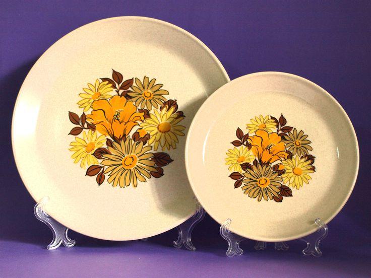 Johnson of Australia Daisy Poppy Sunflower Orange Dinnerware Set - 70s Yellow Floral Dinner Set - Flower Power - Made in Australia by FunkyKoala on Etsy