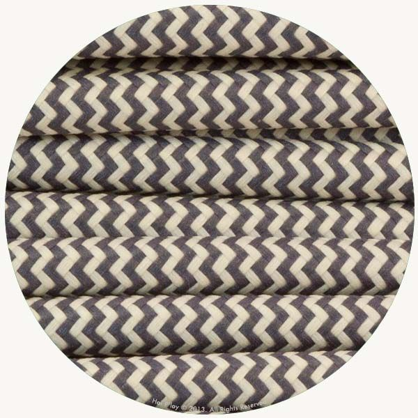 Zigzag Graphite & Ivory Fabric Cable