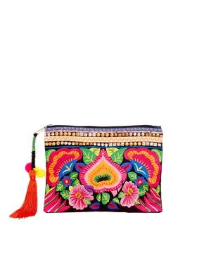 Image 1 - ASOS - Pochette à fleurs brodées aux couleurs vives