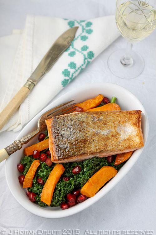 Pan fried salmon on kale sweet potato and pomegranate for Pan fish recipe