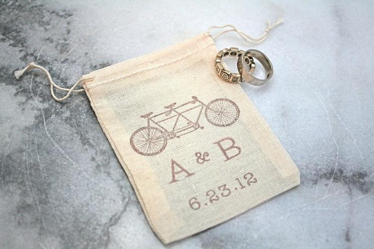 @Kelly Katkowski - Personalized wedding ring bag.  Rustic muslin ring bag, ring bearer accessory.  2x4 muslin bags custom initials and wedding date.. $7.50, via Etsy.