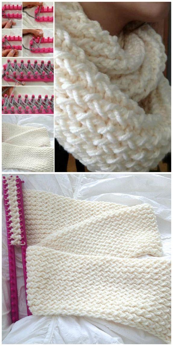 Wunderschone Strickmuster Fur Loom Schals Die Sie Absolut Lieben Werden In 2020 Loom Knitting Scarf Loom Knitting Patterns Loom Scarf