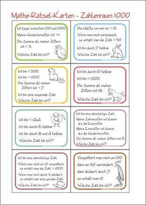 Zahlenrätsel-Karten - Zahl Gesucht - Rechnen im Zahlenraum 1000 - Kostenlose Mathematik Arbeitsblätter für die 3. Klasse Grundschule