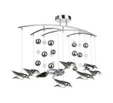 Lampa wisząca BIRD 56670-9D Globo dziecięca OPRAWA LED 54W zwis z kryształkami ptaki crystal chrom