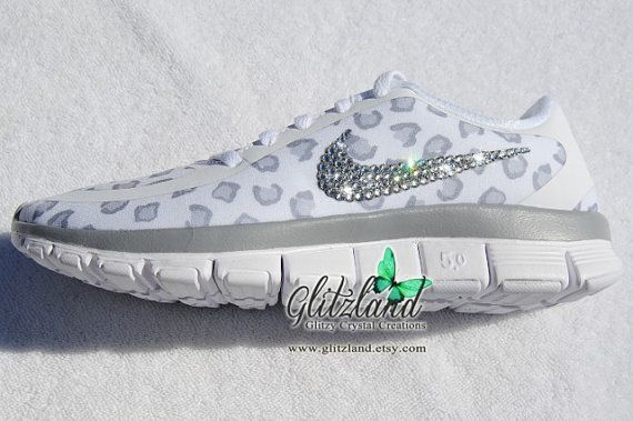SALE!!  Blinged White Cheetah Print Women's Nike Free  5.0 V4
