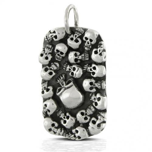 Sterling Silver Multi Skull Mens Dog tag Pendant