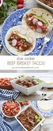 Beef Brisket Tacos made in the slow cooker couldn't be any easier or any more delicious! The meat is tender and full of amazing flavor. Just add your favorite taco toppings.