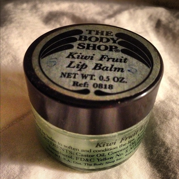 Remember these? Body Shop Kiwi lip balm: