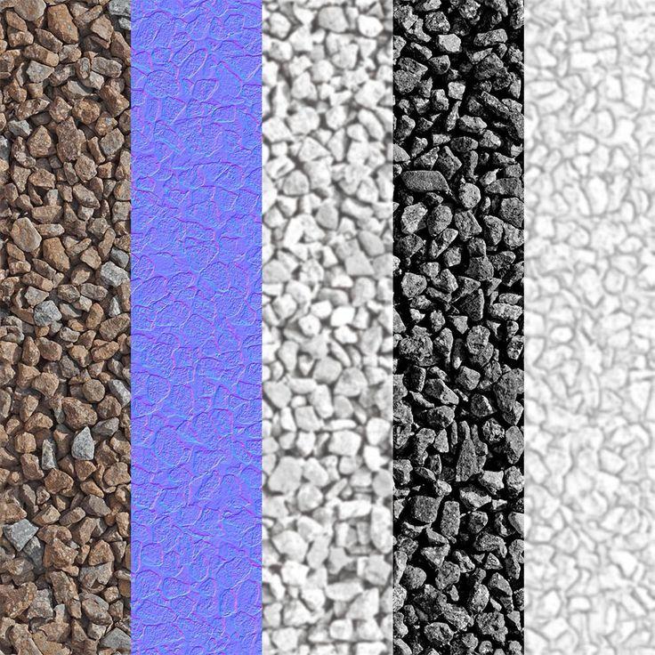 El artista 3D Zeljko Mihajlovic regala esta textura de gravilla en alta resolución y totalmente repetible (sin bordes aparentes), disponible en un máximo de 3.000 x 3.000 px.  El paquete incluye además del mapa difuso, el de normales, desplazamiento, especular y oclusión ambiental (AO).