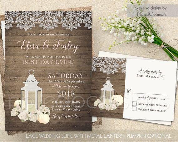Fall Wedding Invitations Rustic Lantern Invitation Set Printable Rsvp Card Blush Fl White Pumpkins String Light Wood Template