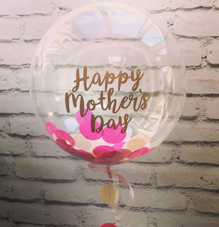 Pink confetti balloon with Happy Mother's Day message from The Feather Balloon Company