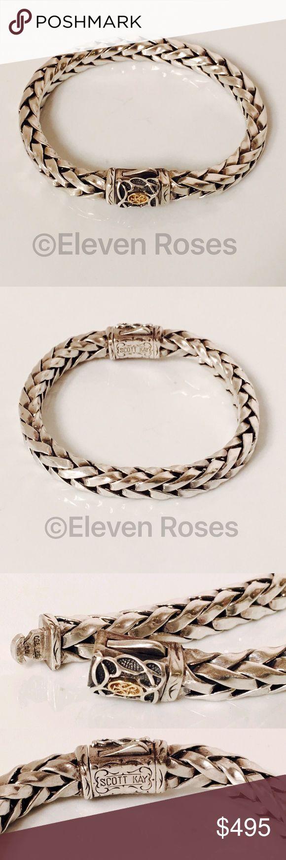 "Scott Kay Sterling & 18k Woven Chain Bracelet Scott Kay Heavy Woven Chain Bracelet - 925 Sterling Silver & 750 18k Gold - Measures Approx 7.5"" Long X 7.5mm Wide - Weighs Approx 54 Grams - Double Push Button Clasp Scott Kay Jewelry Bracelets"