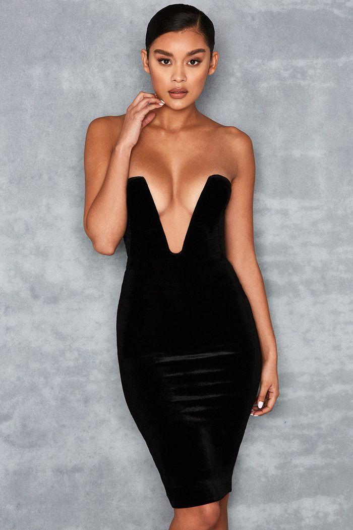 f53702f8eb64 Blink  Black Velvet Deep Plunge Mini Dress - Mistress Rocks ...