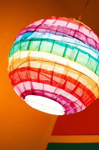 Rainbow lampshade. Do this with a drum shade for lamp in toy