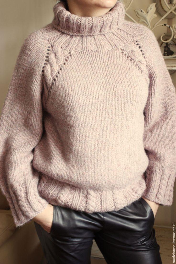 """Купить Свитер женский """"Пыльная Роза"""" - бледно-розовый, свитер вязаный, свитер из шерсти, альпака"""