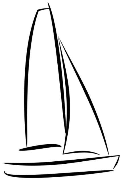 yacht illustration, lineart boat. ship black and white.