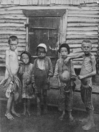 Starvation was vast during the Russian Revolution. These refugee children, their bellies distended from malnutrition, gave mute testimony in 1921 to the famine that killed as many as 6 million people.