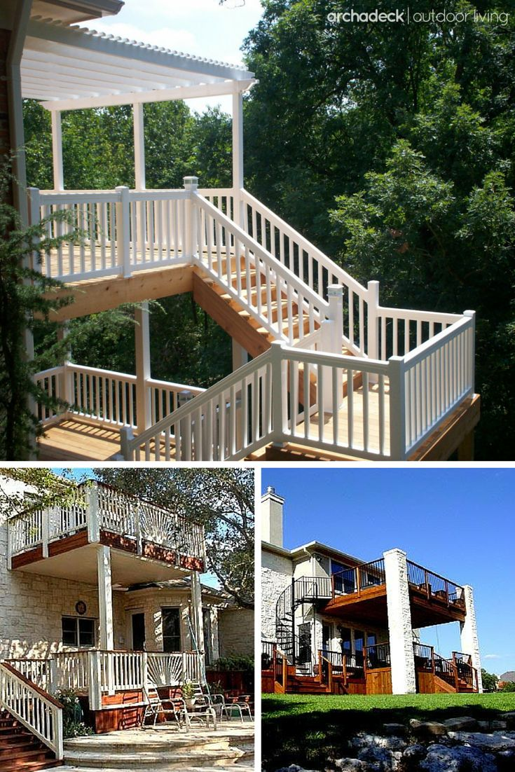 A two-story deck will complement any two-story home regardless of the yard's layout.  So if your lot has a steep slope, your terrain challenge is solved.  But if your property is level, well, you've just doubled your outdoor space in the footprint of one.   Two-Story Deck Design Ideas   archadeckwestcounty.com