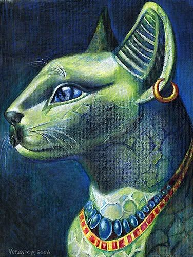 """Bastet, great cat goddess, has dominion over sex, fertility, marriage, magic, music, childbirth, prosperity, joy, dance, and healing - in short, the pleasures of life. She protects humans against infertility, dangers of childbirth, evil spirits, illness, and bodily injuries, especially those caused by venomous creatures. A tomb inscription says Bastet bestows """"life, prosperity and health every day and long life and beautiful old age."""""""