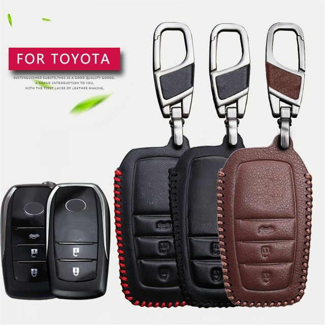 Remote Car Key Case Cover For Toyota Chr C Hr Land Cruiser 200 Avensis Auris Corolla Genuine Leather 2 Key Case Genuine Leather Land Cruiser