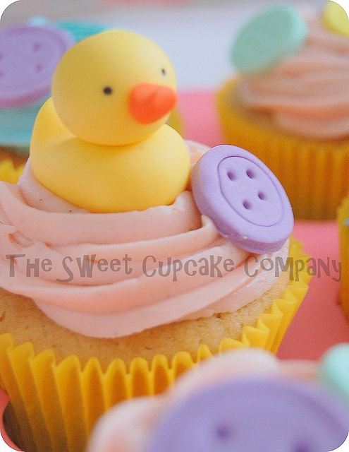 Baby Shower Rubber Ducky with Button Cookie Cupcake by Sweet Cupcakes Co.,  Dublin Ireland