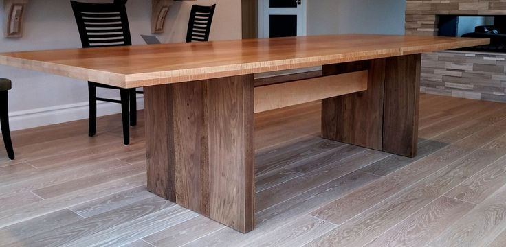 Modern trestle dining table by AaronSmithWoodworker on Etsy https://www.etsy.com/listing/209831190/modern-trestle-dining-table