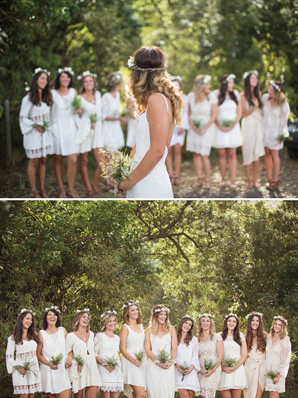 It's decided, I want my bridesmaids to wear flowers in their hair!! If not a band like this, then at least a flower behind their ear or in their updo or something.