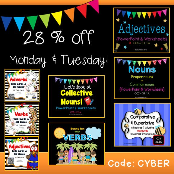 Save up to 28 % on these ELA products (Task cards with CR codes, PowerPoints and worksheets).  Code:  CYBER  1 & 2 December 2013