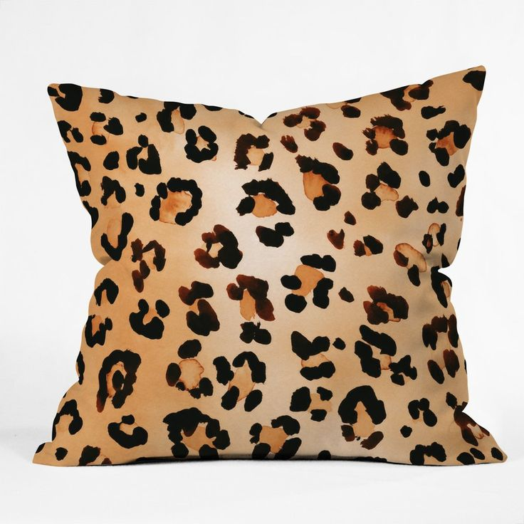 amy sia animal leopard brown throw pillow deny designs home accessories