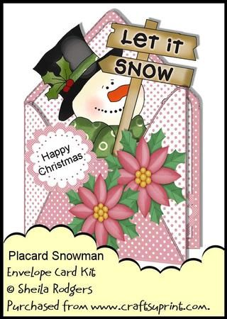Envelope Card Kit Placard Snowman on Craftsuprint designed by Sheila Rodgers - This kit contains all you need to make this cute Christmas card with matching envelope and gift tags.The kit contains:Main card with decoupage.Insert.Backing paper (plus a bonus backing paper in this kit).Two envelope sheets and two gift tags.There are 6 printable sheets in total (including the extra backing paper). - Now available for download!