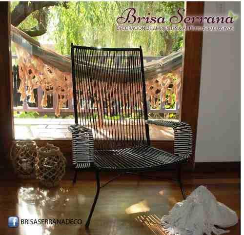 Sillón Puebla Exclusivo modelo de Brisa Serrana. Hierro y Cordón de PVC mesa cómodo y resistente para cualquier ambiente.