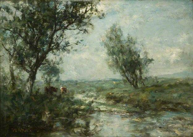 A Dutch Landscape by Willem Maris; Oil on panel; Collection: Perth & Kinross Council, UK