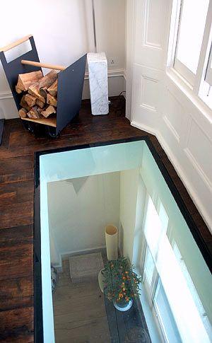 Skylight Illuminating Basement Glass Floor Ceiling