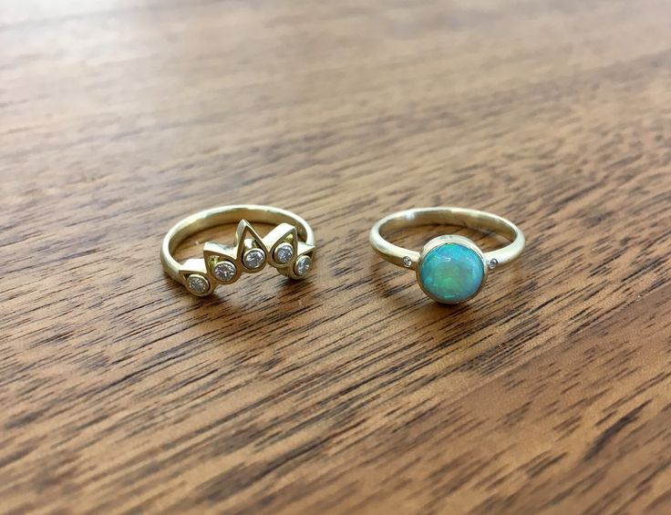 Engagement and Weddingring together. Opal,Brilliant and 14ct Yellowgold