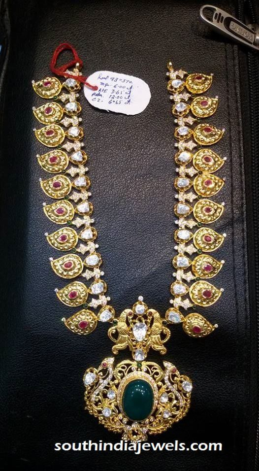 Gold Long Necklace Designs In 100 Grams <b@ grams gold</b> antique <b>necklace</b> ~ south india <b>jewels</b>