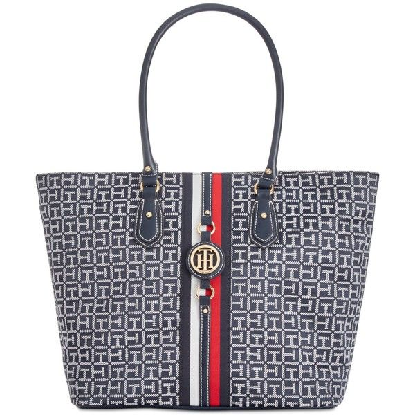 Tommy Hilfiger Jaden Monogram Jacquard Extra-Large Tote (125 CAD) ❤ liked on Polyvore featuring bags, handbags, tote bags, tote hand bags, tommy hilfiger tote bag, tote purses, tote handbags and tommy hilfiger purses