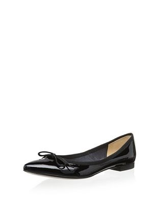50% OFF Modern Fiction Women's Tie Ballerina with Pointed Toe (Black Patent)