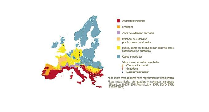 Aquí podéis ver en que zonas afecta más la leishmaniosis (las zonas rojas son las de mayor prevalencia)