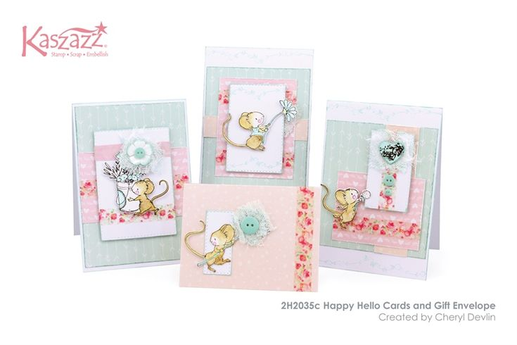 2H2035c Happy Hello Cards and Gift Envelope