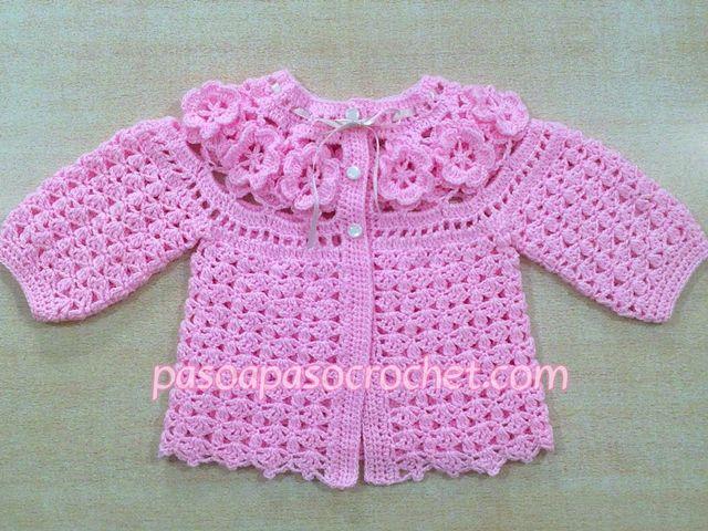 Talles Saquito De Ajuar Paso A Paso Crochet Vestido De Niña Tejido A Ganchillo Chaqueta De Ganchillo Ropa Para Bebé De Ganchillo