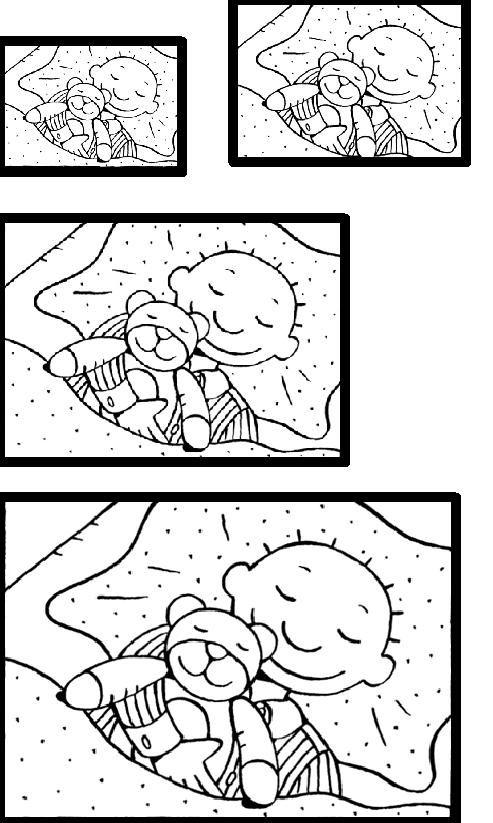 Jules slaapt met knuffelbeer van groot naar klein