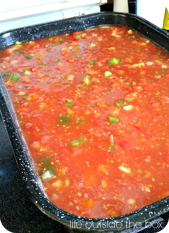 Authentic Mexican Salsa Recipe 4 large cans diced tomatoes, 6 garlic cloves, 1 1/2 cups white onion, 2 green peppers, 3 red peppers, 1 large can tomato paste, 1 1/2 cups vinegar, 6 tbsp white sugar, 2 tsp cumin, 1 tbsp oregano, 1-3 large cans jalapeno peppers. Mix ingredients and simmer for 45 minutes. Add 1/2 cup cilantro and simmer for additional 15 minutes. #salsarecipe #lifeoutsidethebox