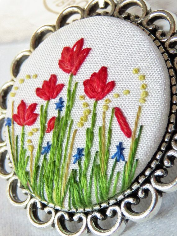 Poppy pendant Poppy necklace Hand embroidery necklace Floral pendant French knot…