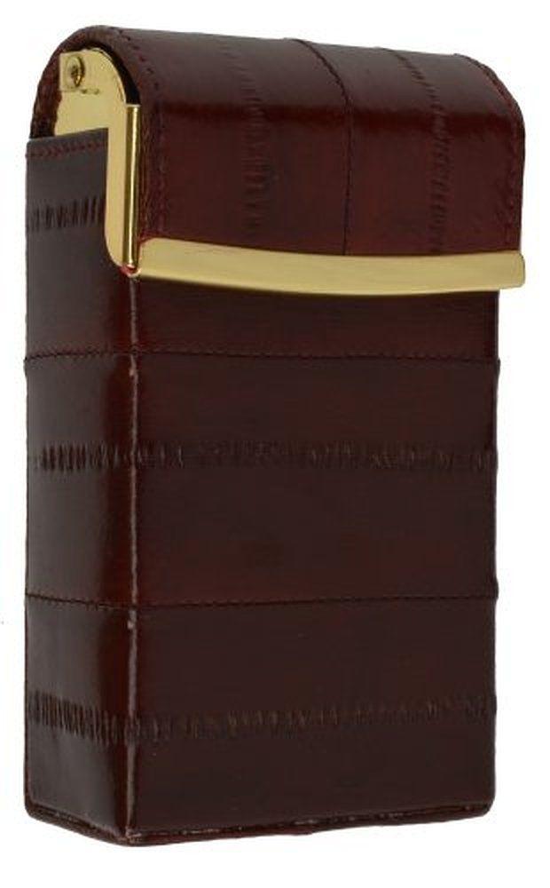 Eel Skin Genuine Leather Sliding Cigarette Case Pop-Up Wallet