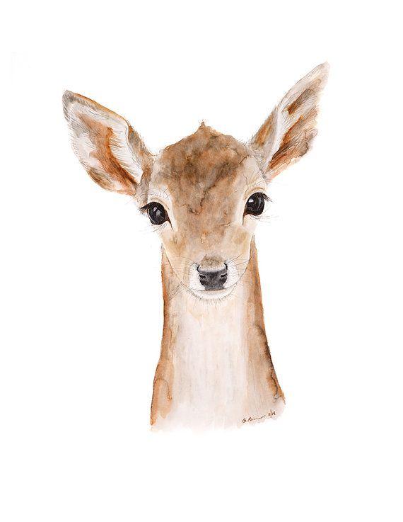 Deer Painting Animal Art Baby Deer Fawn Deer Art by TinyToesDesign