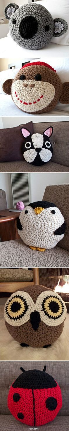 There are all so adorable, especially the owl (and the penguin). Too bad everything's in Chinese (or some such language). But, they don't look too hard to recreate as they all start with a large circle.