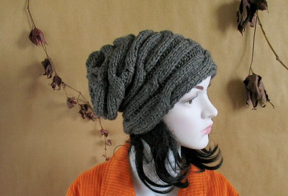 cable knit hat Slouchy Beanie Chunky Knit Winter by recyclingroom